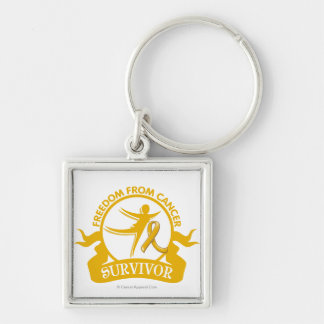 Appendix Cancer - Freedom From Cancer Survivor Silver-Colored Square Key Ring