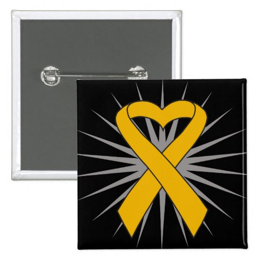 Appendix Cancer Heart Ribbon Pins