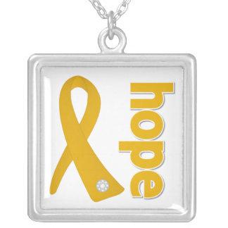 Appendix Cancer Hope Amber Ribbon Square Pendant Necklace