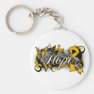 Appendix Cancer Hope Garden Ribbon Basic Round Button Key Ring