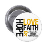 Appendix Cancer HOPE LOVE FAITH 6 Cm Round Badge