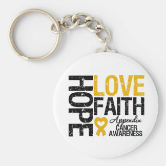 Appendix Cancer HOPE LOVE FAITH Basic Round Button Key Ring