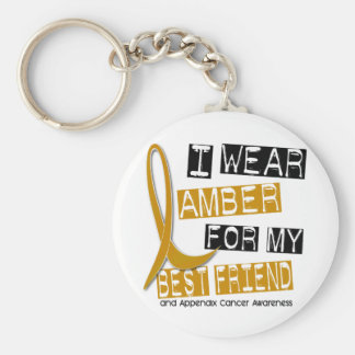 APPENDIX CANCER I Wear Amber For My Best Friend 37 Basic Round Button Key Ring