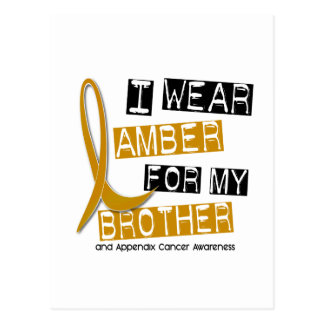 APPENDIX CANCER I Wear Amber For My Brother 37 Postcard