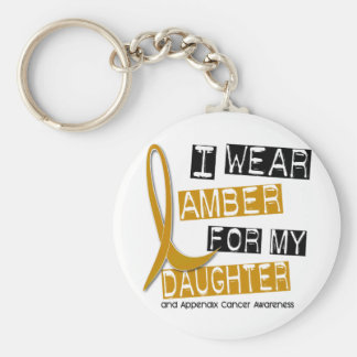 APPENDIX CANCER I Wear Amber For My Daughter 37 Basic Round Button Key Ring