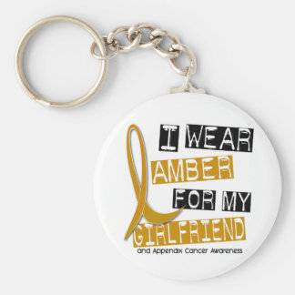 APPENDIX CANCER I Wear Amber For My Girlfriend 37 Basic Round Button Key Ring