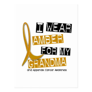 APPENDIX CANCER I Wear Amber For My Grandma 37 Postcard