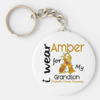 Appendix Cancer I Wear Amber For My Grandson 43 Basic Round Button Key Ring