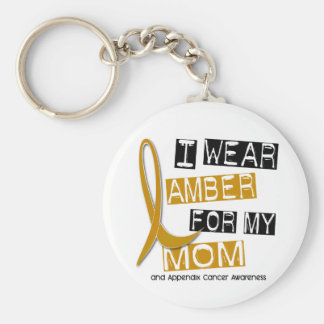 APPENDIX CANCER I Wear Amber For My Mom 37 Basic Round Button Key Ring