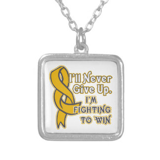 Appendix Cancer I'll Never Give Up Square Pendant Necklace