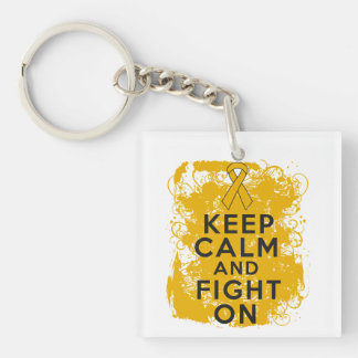 Appendix Cancer Keep Calm and Fight On Square Acrylic Key Chain