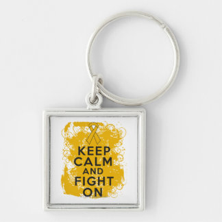 Appendix Cancer Keep Calm and Fight On Silver-Colored Square Key Ring