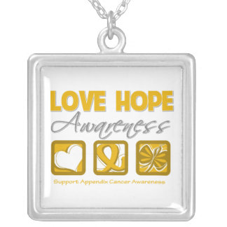 Appendix Cancer Love Hope Awareness Square Pendant Necklace