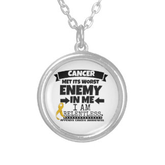 Appendix Cancer Met Its Worst Enemy in Me Round Pendant Necklace