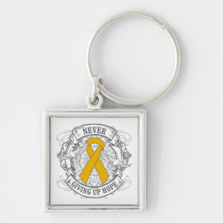 Appendix Cancer Never Giving Up Hope Silver-Colored Square Key Ring