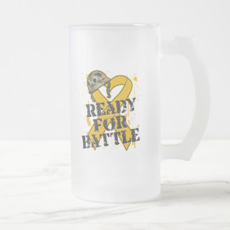 Appendix Cancer Ready For Battle 16 Oz Frosted Glass Beer Mug