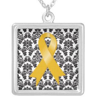 Appendix Cancer Ribbon Damask Deco Square Pendant Necklace