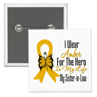 Appendix Cancer Ribbon Hero My Sister in Law 15 Cm Square Badge