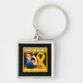 Appendix Cancer Rosie Riveter - Fight Like a Girl Silver-Colored Square Key Ring
