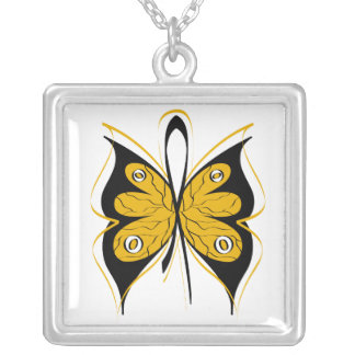 Appendix Cancer Stylish Butterfly Awareness Ribbon Square Pendant Necklace