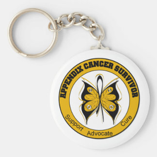 Appendix Cancer SURVIVOR Butterfly Basic Round Button Key Ring