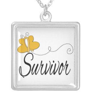 Appendix Cancer Survivor Butterfly Ribbon Square Pendant Necklace