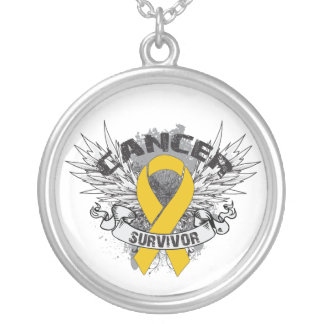 Appendix Cancer Survivor Grunge Winged Round Pendant Necklace