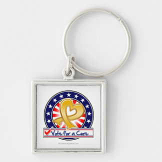 Appendix Cancer Vote For a Cure Silver-Colored Square Key Ring