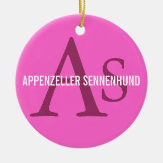 Appenzeller Sennenhund Monogram Round Ceramic Decoration