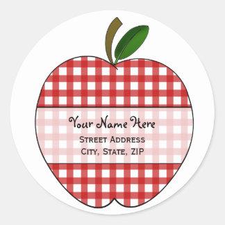 Apple Address Label - Red Gingham Round Sticker