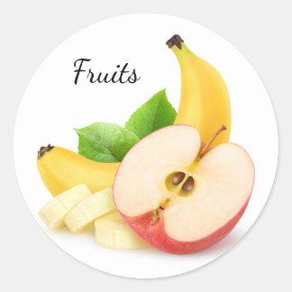 Apple and banana round sticker