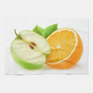 Apple and orange tea towel