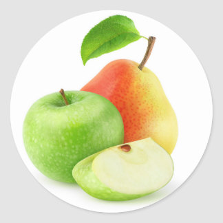 Apple and pear round sticker