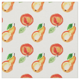 Apple and pears watercolor design fabric