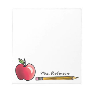 Apple and Pencil Personalized Teacher 5.5 x 6 Notepad