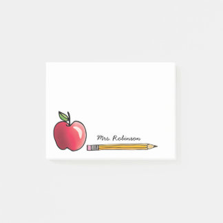 Apple and Pencil Personalized Teacher Post-it Notes
