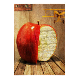 apple and plane surreal art poster