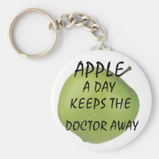 apple, APPLE, A DAY, KEEPS THE , DOCTOR AWAY Basic Round Button Key Ring