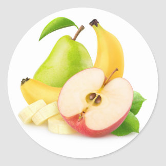 Apple, banana and pear round sticker