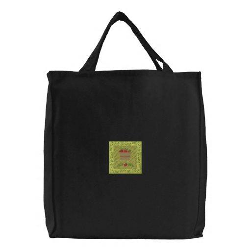 Apple Basket Embroidered Tote Bag