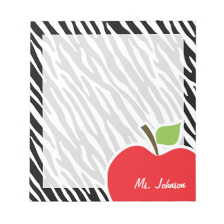Apple; Black & White Zebra Stripes Notepad