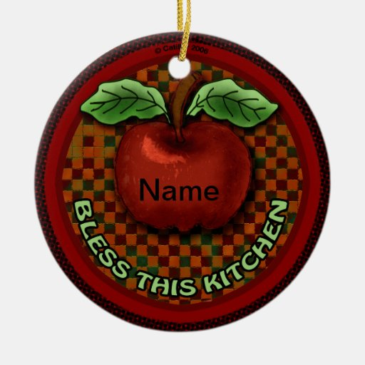 Apple Bless This Kitchen Christmas Ornaments