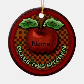Apple Bless This Kitchen Round Ceramic Decoration