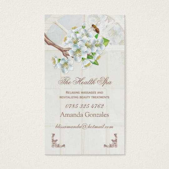Apple blossom and bee Health Spa Business Card