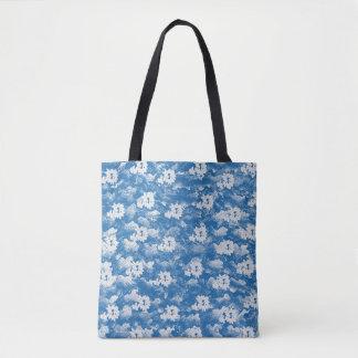 APPLE BLOSSOM BLUE TOTE BAG