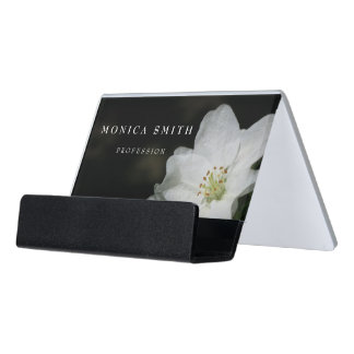 Apple blossom desk business card holder