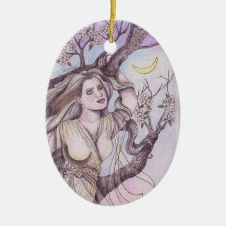 Apple Blossom Dryad Fairy Faerie Altar Art Ceramic Oval Decoration