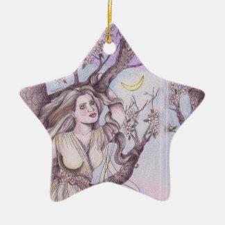 Apple Blossom Dryad Fairy Faerie Altar Art Ceramic Star Decoration