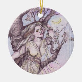 Apple Blossom Dryad Fairy Faerie Altar Art Round Ceramic Decoration