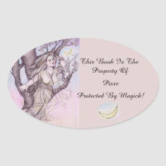 Apple Blossom Dryad Fairy Faerie Bookplate Oval Sticker